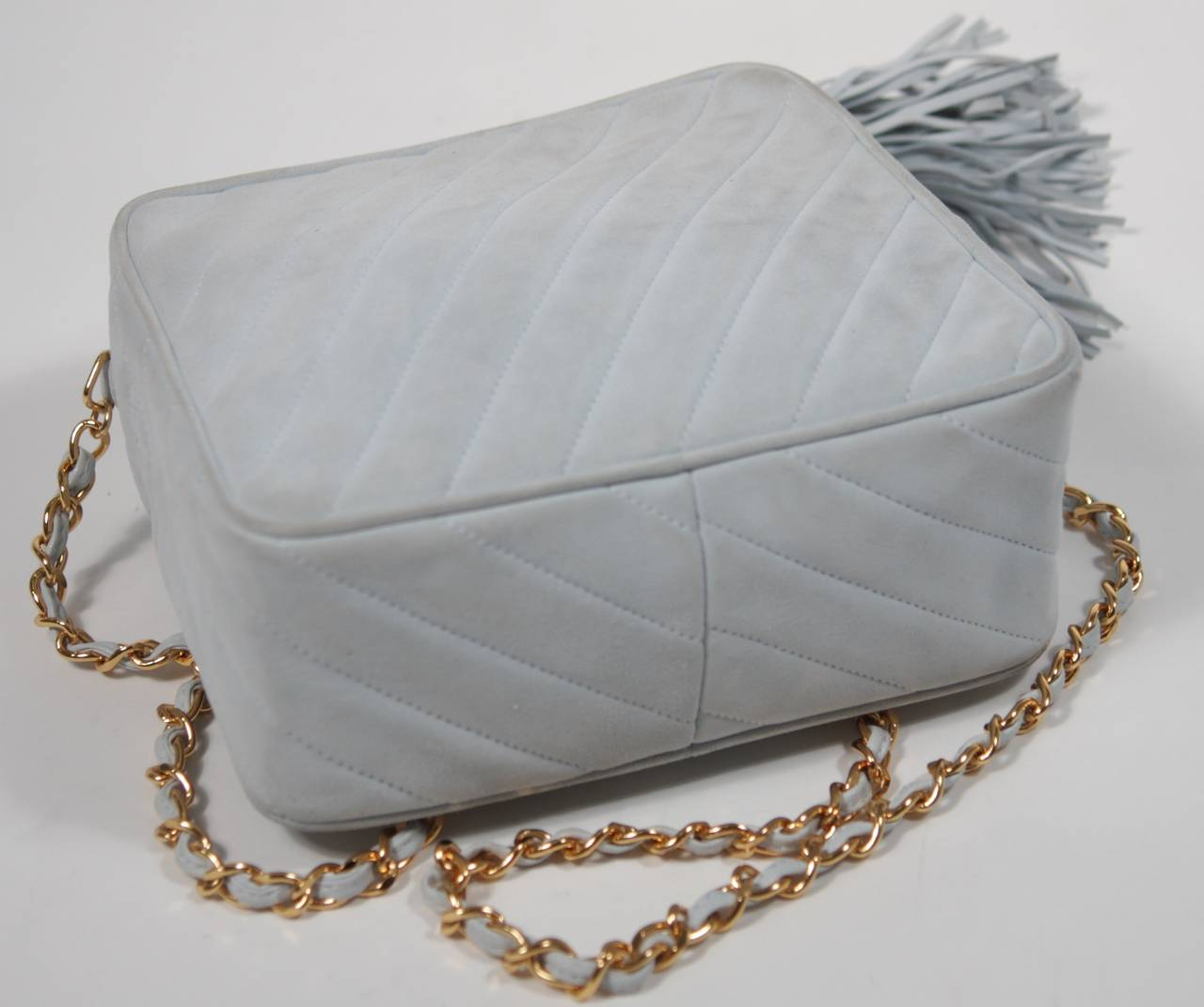 Chanel Light Blue Quilted Suede Purse with Gold Hardware and Tassel 7