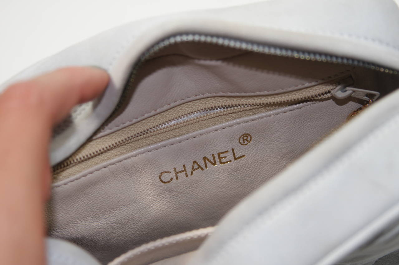 Chanel Light Blue Quilted Suede Purse with Gold Hardware and Tassel 8