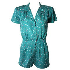 Nolan Miller Attributed Silk Blue Floral Play Suit Jumper Size Small