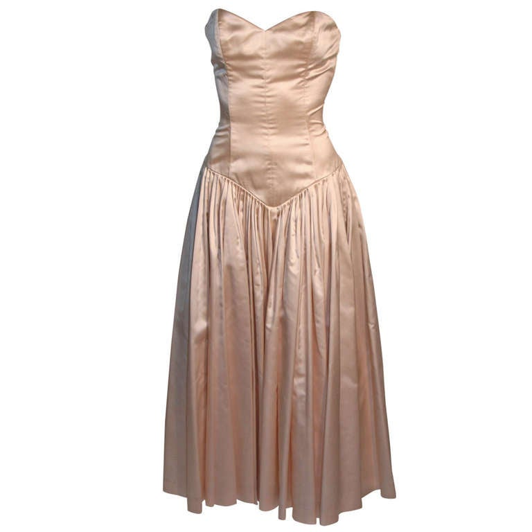 Norma Kamali 1980's Silk Dress with Corset Bodice