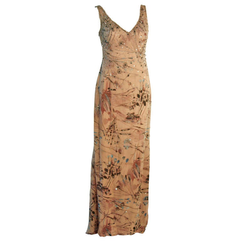 Badgley Mischka Beige Sleeveless Dress with Sequins Size 2 1