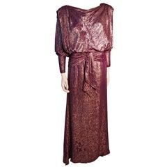 Nolan Miller Purple and Bronze Iridescent Draped Gown