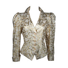Yves Saint Laurent Gold Foil Jacket with Enamel Daisy Buttons Size 40