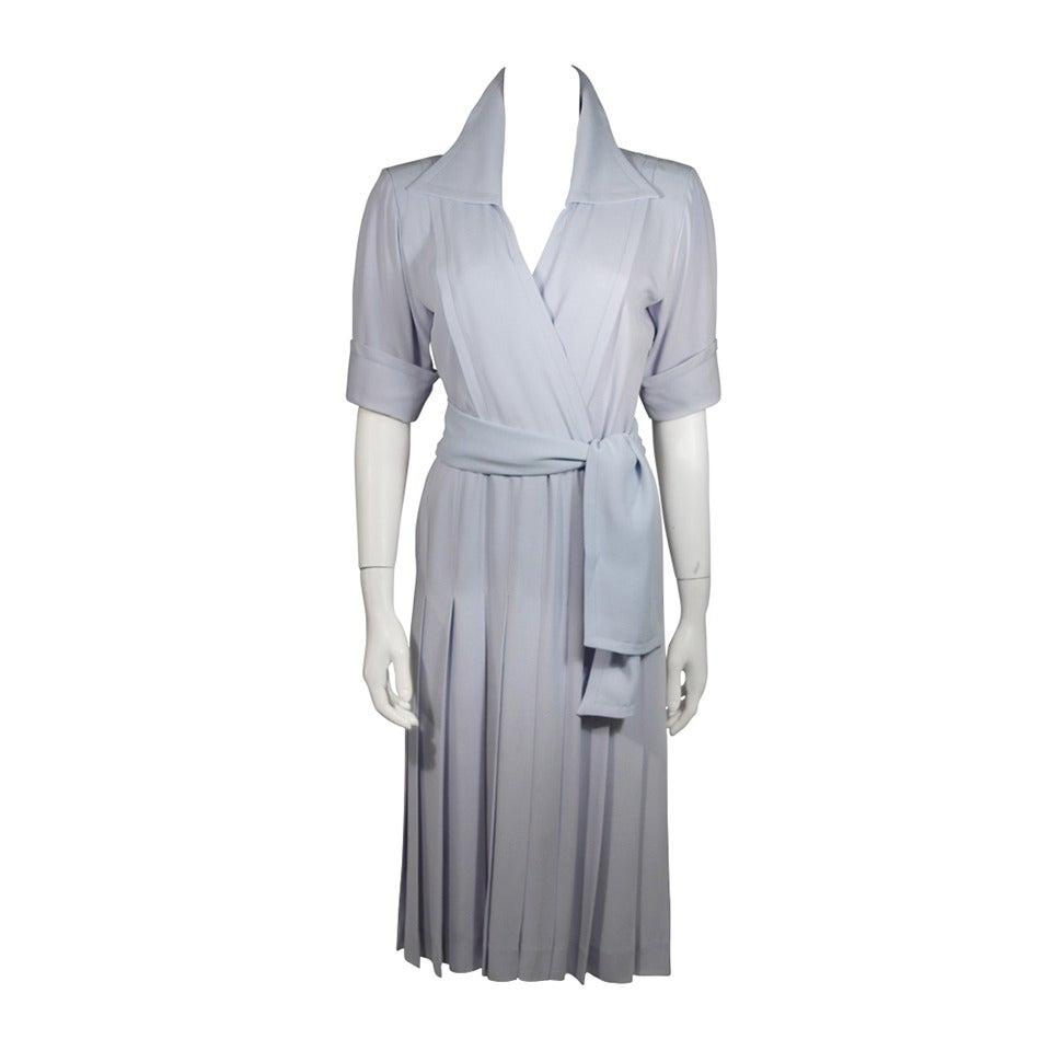 Saint Laurent Periwinkle Belted Shirt Dress Size