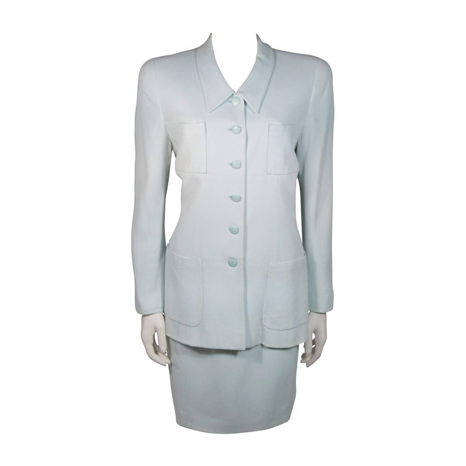 chanel light blue skirt suit size 44 at 1stdibs
