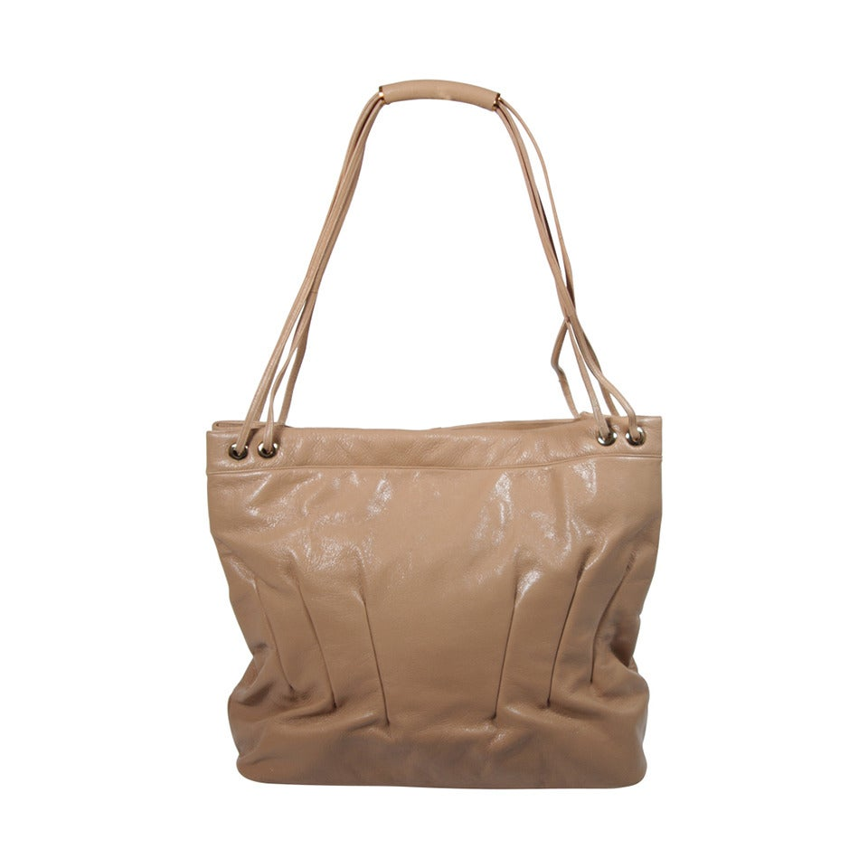 Judith Leiber Caramel Tote with Dart Detailing For Sale