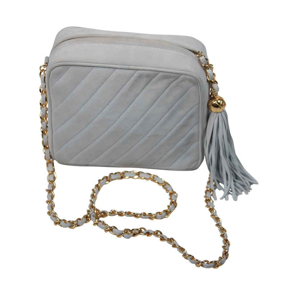 Chanel Light Blue Quilted Suede Purse with Gold Hardware and ...