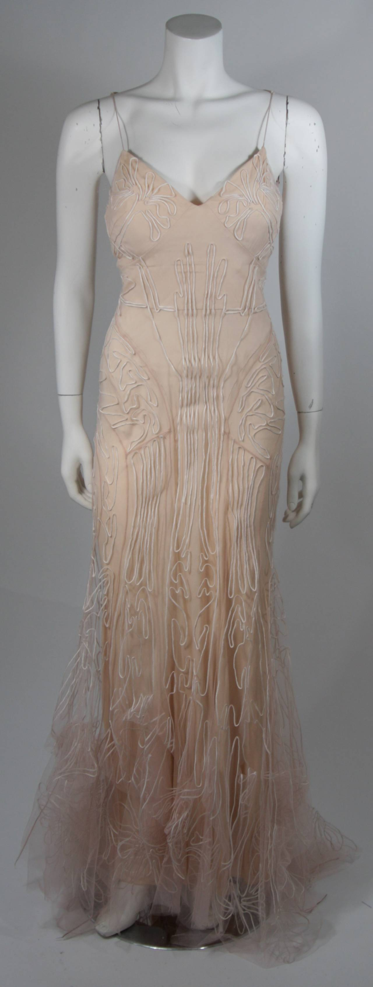 Zac Posen Embroidered Blush Silk Mesh Wedding Gown with Veil Size Small 2