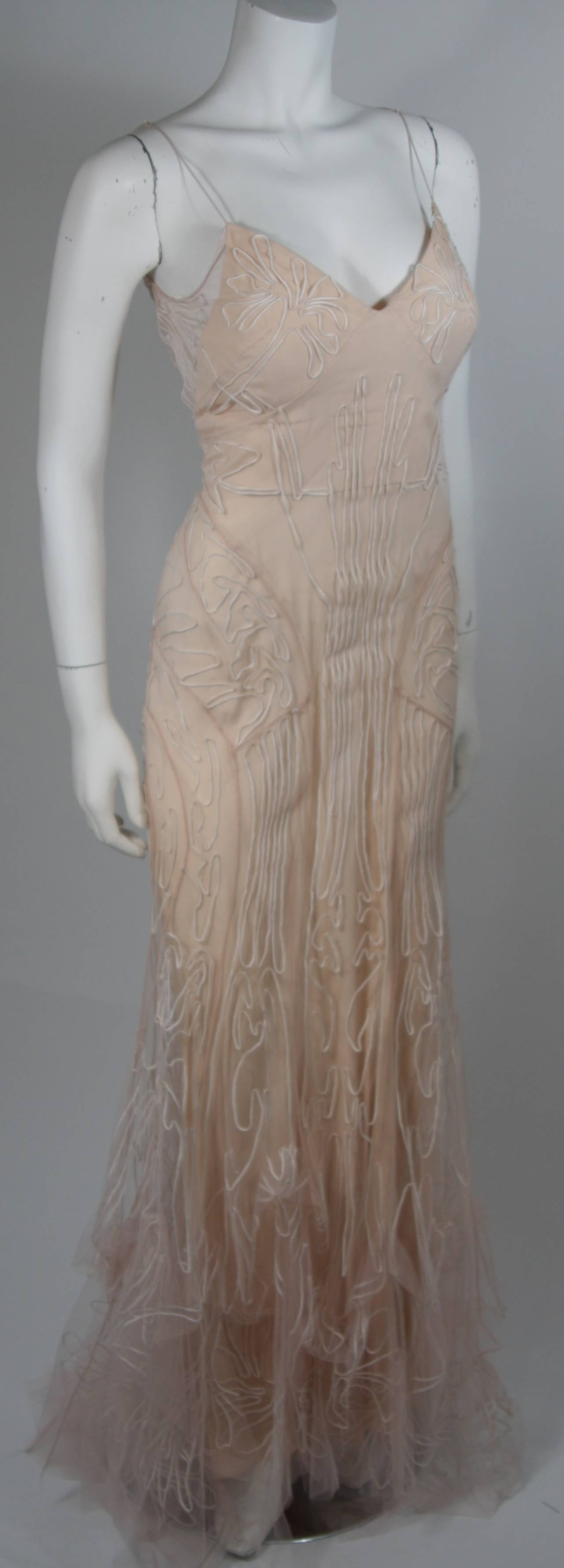 Zac Posen Embroidered Blush Silk Mesh Wedding Gown with Veil Size Small 5