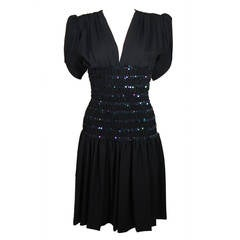 Yves Saint Laurent Black Cocktail Gown with Sequin Smocked Waist Size 38