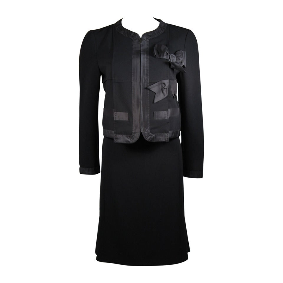 Moschino Black Skirt Suit with Silk Bow Detailing Size 12