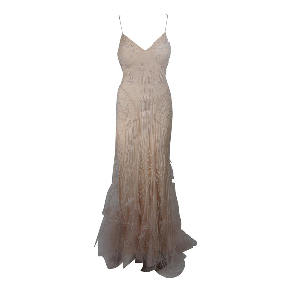 Zac Posen Embroidered Blush Silk Mesh Wedding Gown with Veil Size Small 1