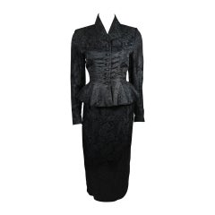 Lilli Ann Fitted Black Silk Jacquard Skirt Suit with Peplum Detail Size Small