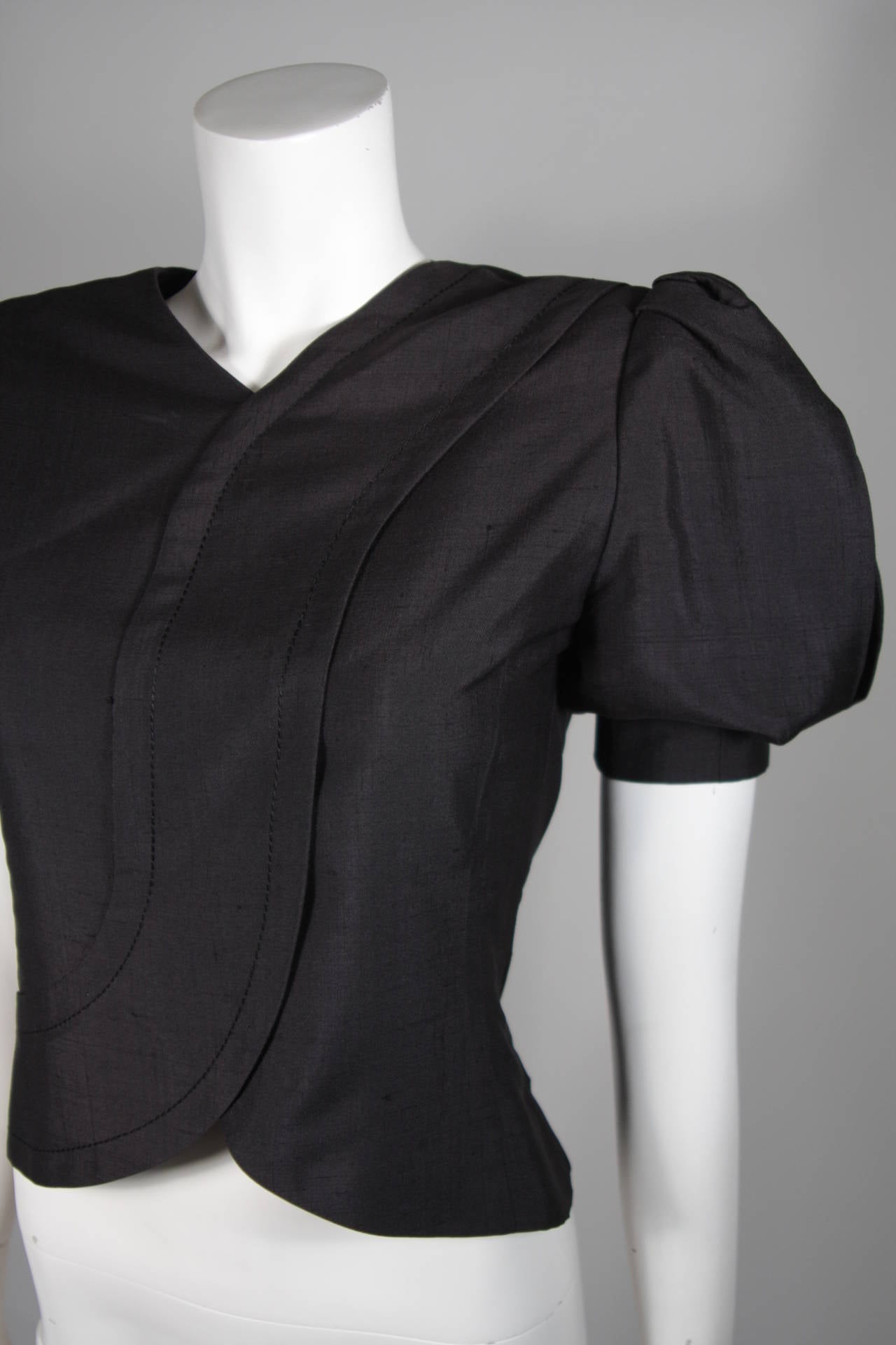 Galanos Black Silk Blouse with Puffed Sleeves Size Small In Excellent Condition For Sale In Los Angeles, CA
