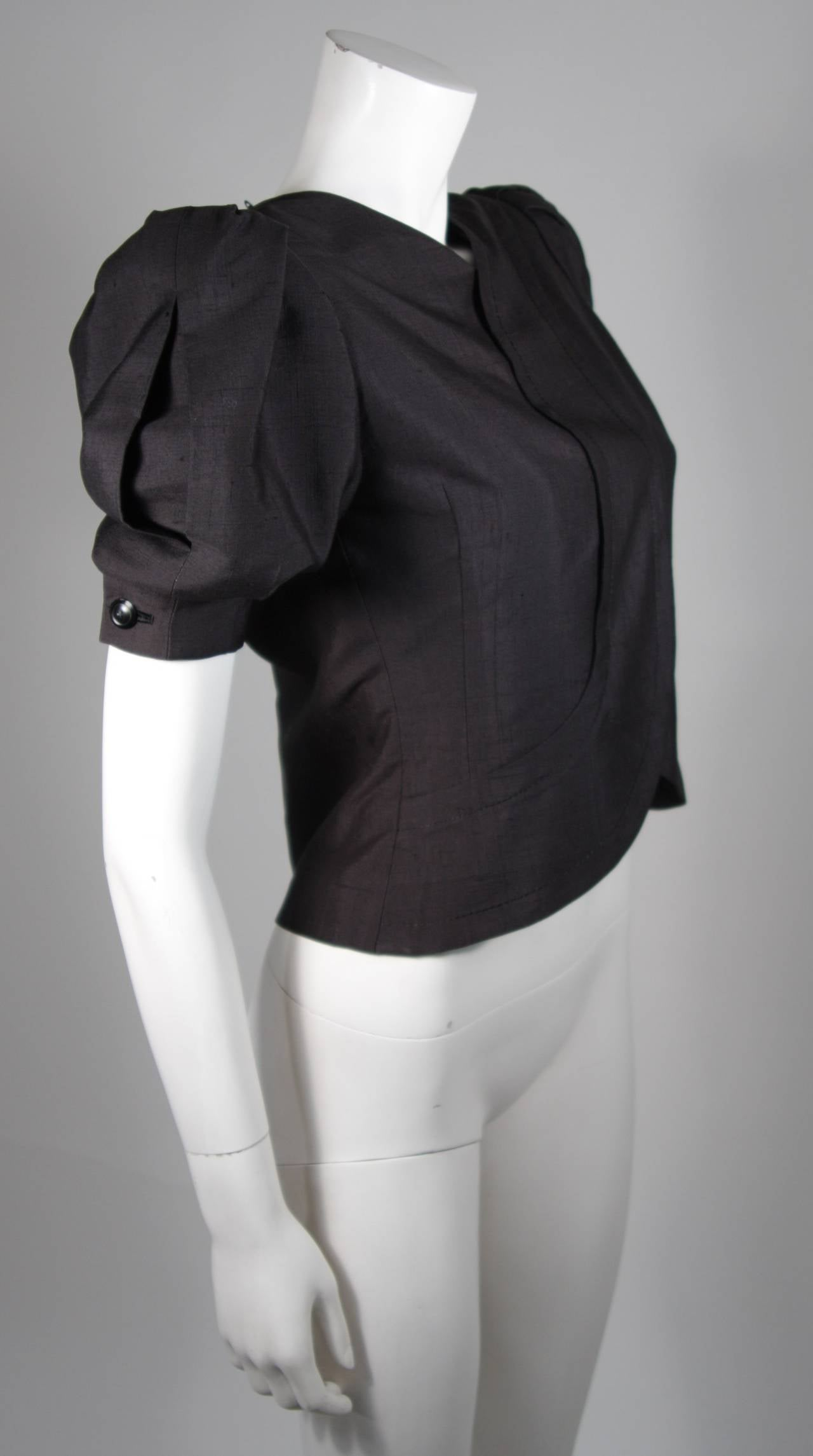 Women's Galanos Black Silk Blouse with Puffed Sleeves Size Small For Sale