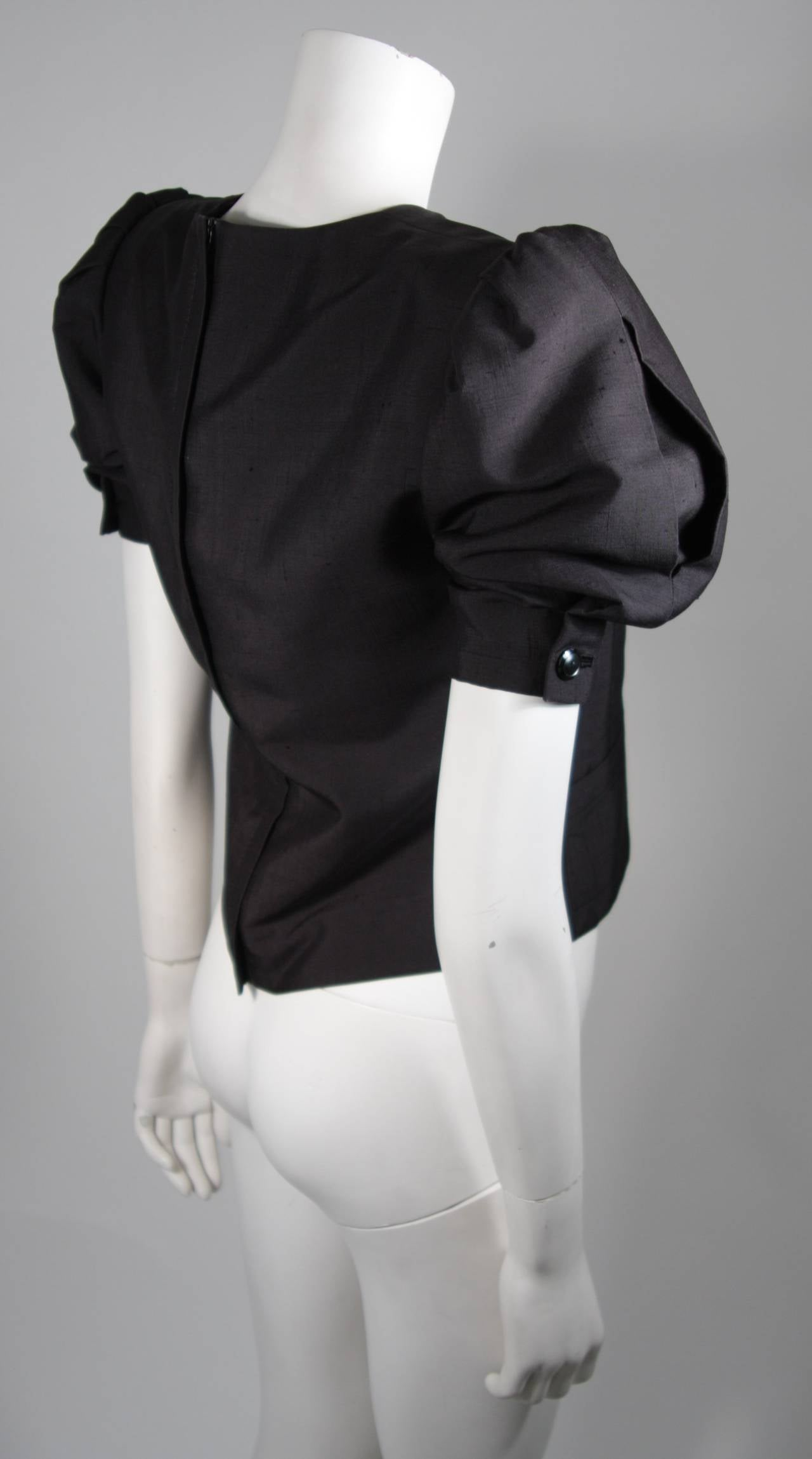 Galanos Black Silk Blouse with Puffed Sleeves Size Small For Sale 1