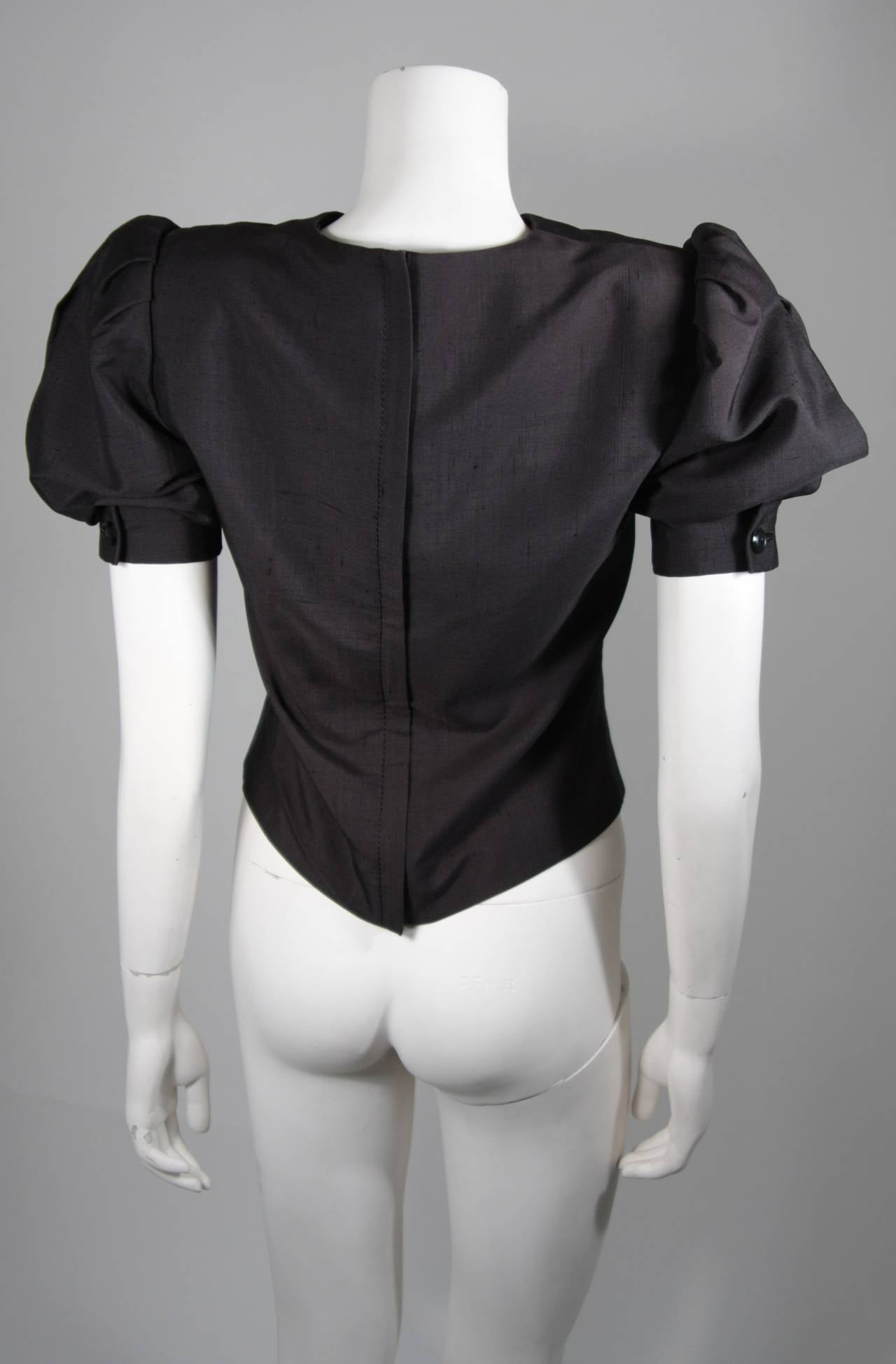 Galanos Black Silk Blouse with Puffed Sleeves Size Small For Sale 2