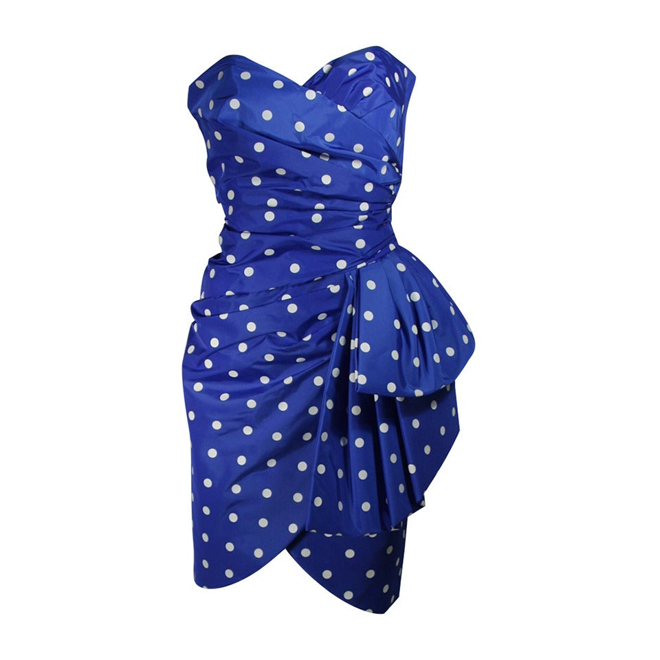 Victor Costa Royal Blue and White Polka Dot Cocktail Dress Size 8 For Sale