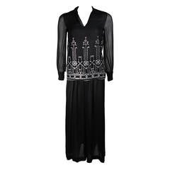 Christian Dior Embellished Black Chiffon Tunic Ensemble with Slacks Size Small