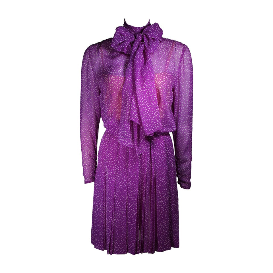 8796964908 Givenchy Couture Purple Silk Chiffon Dress with Wrap Collar and Belt Size  Small For Sale