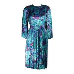 Pauline Trigere Turquoise Multi Color Velvet Burn Out Dress Size Small Medium