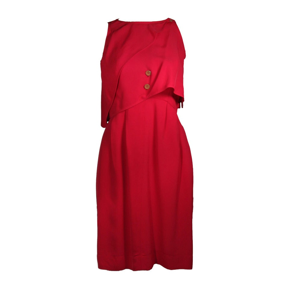 Fendi Red Cocktail Dress with Caplet Attachment and Button Details Size 2