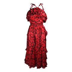 Birgitta Beverly Hills Red and Black Ruffled Sun Dress with Shawl Size Large