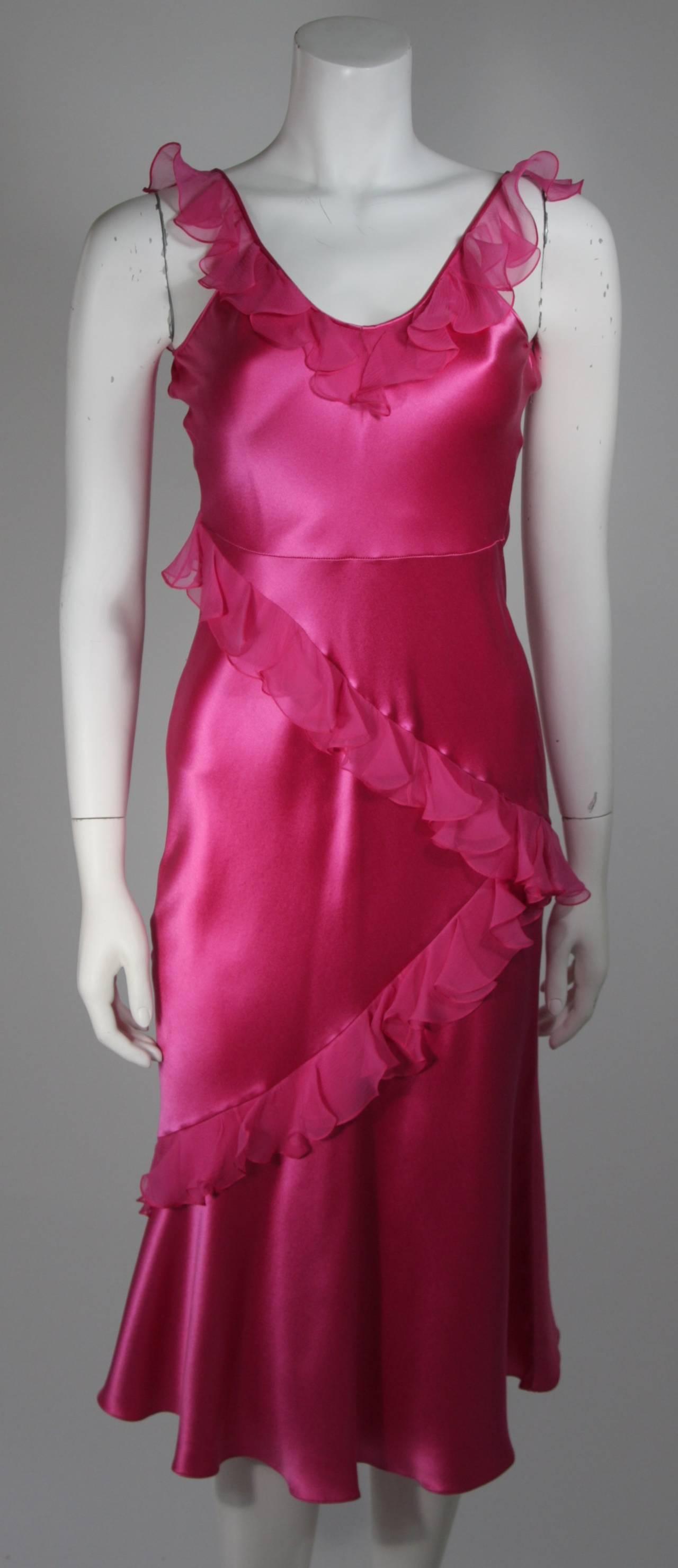 Christina Dior Ruffled Pink Silk Chiffon Dress Size XS For Sale 1