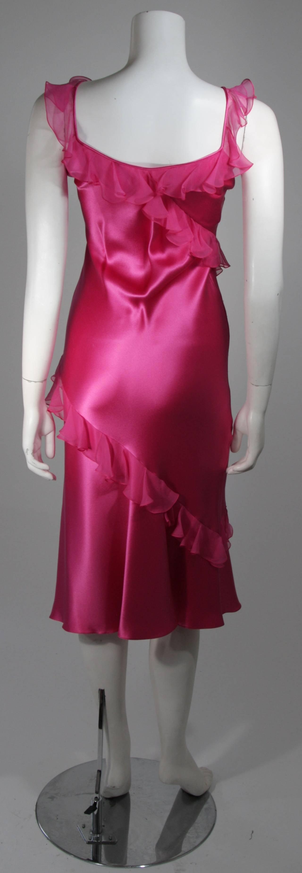 Women's Christina Dior Ruffled Pink Silk Chiffon Dress Size XS For Sale