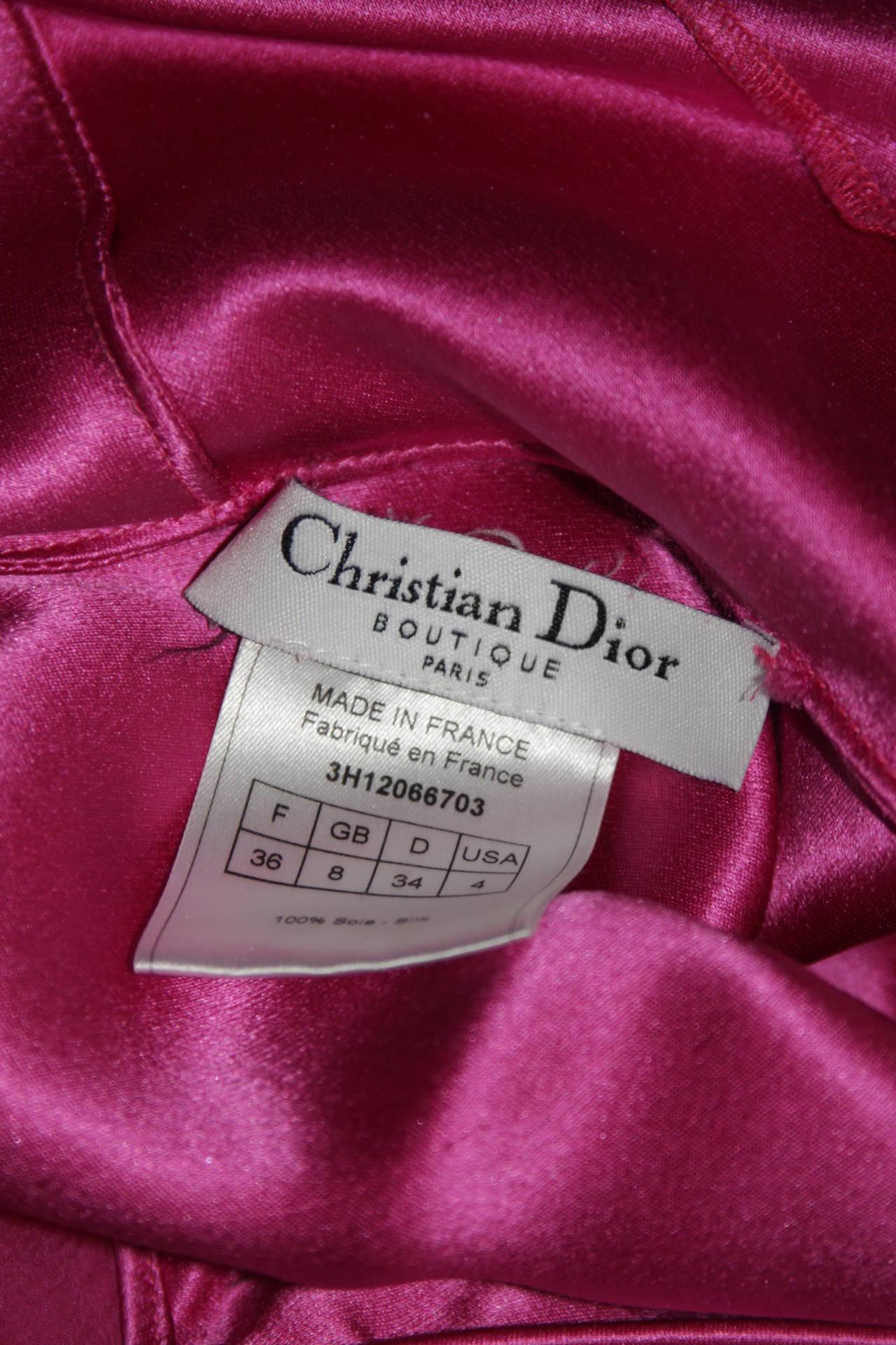 Christina Dior Ruffled Pink Silk Chiffon Dress Size XS For Sale 3