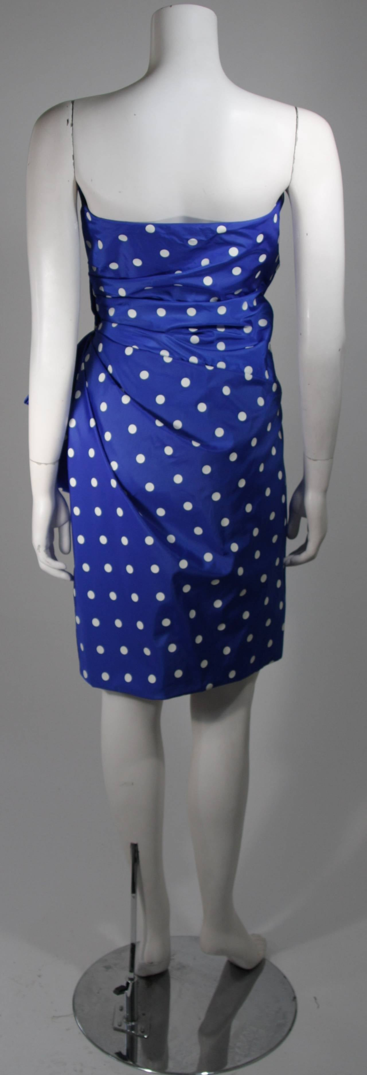 Victor Costa Royal Blue and White Polka Dot Cocktail Dress Size 8 For Sale 1