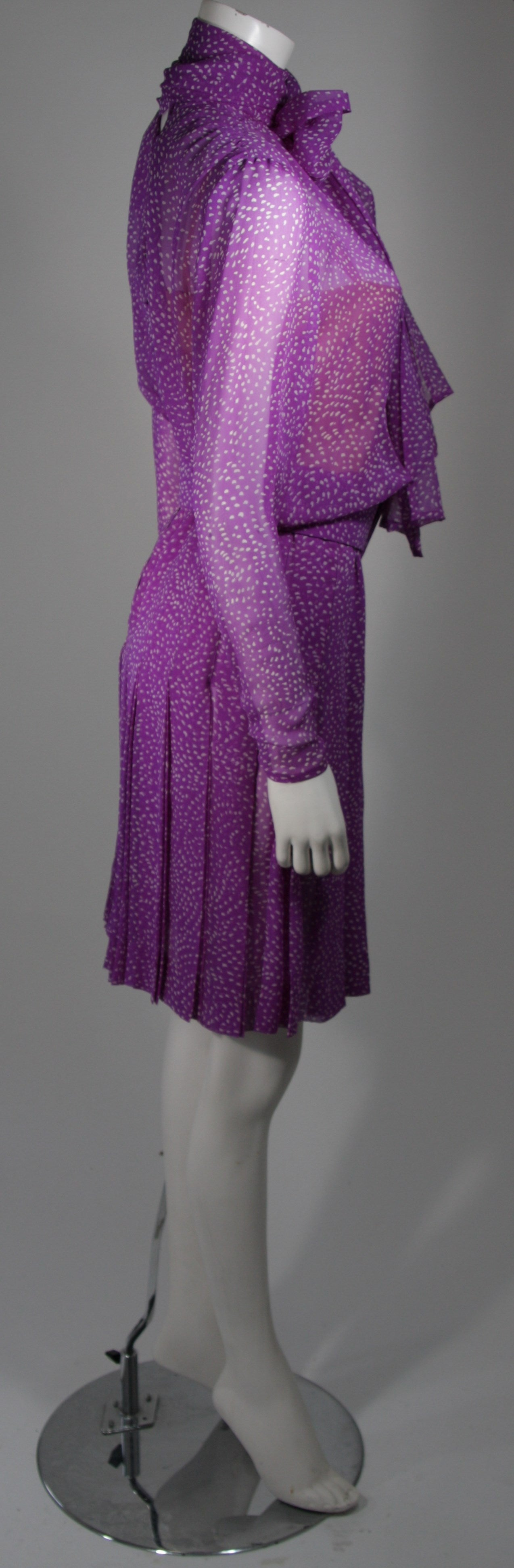 03915c0687 Givenchy Couture Purple Silk Chiffon Dress with Wrap Collar and Belt Size  Small For Sale 2