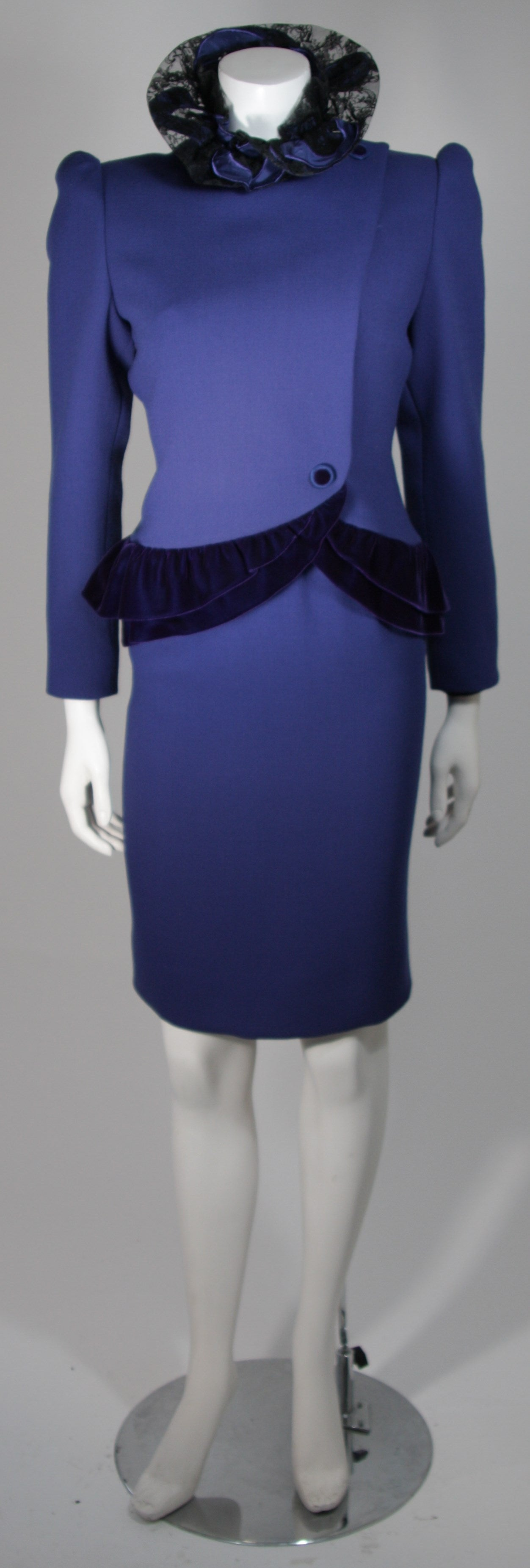 carolina herrera couture royal blue skirt suit ensemble
