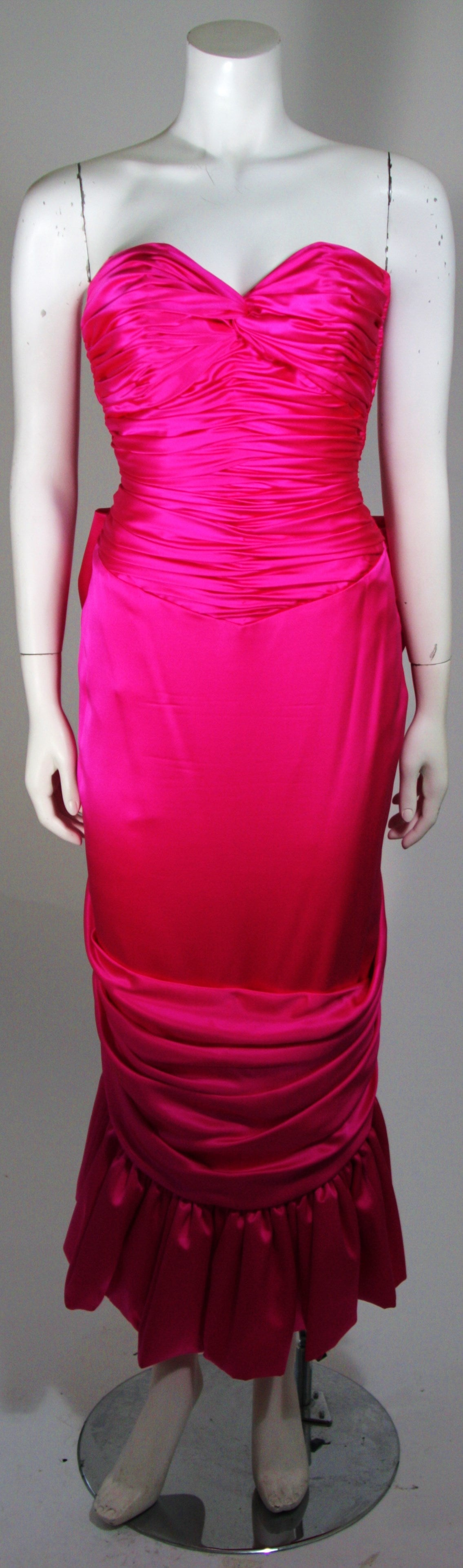 Vicky Tiel Magenta Gown with Large Bow Size Small 2