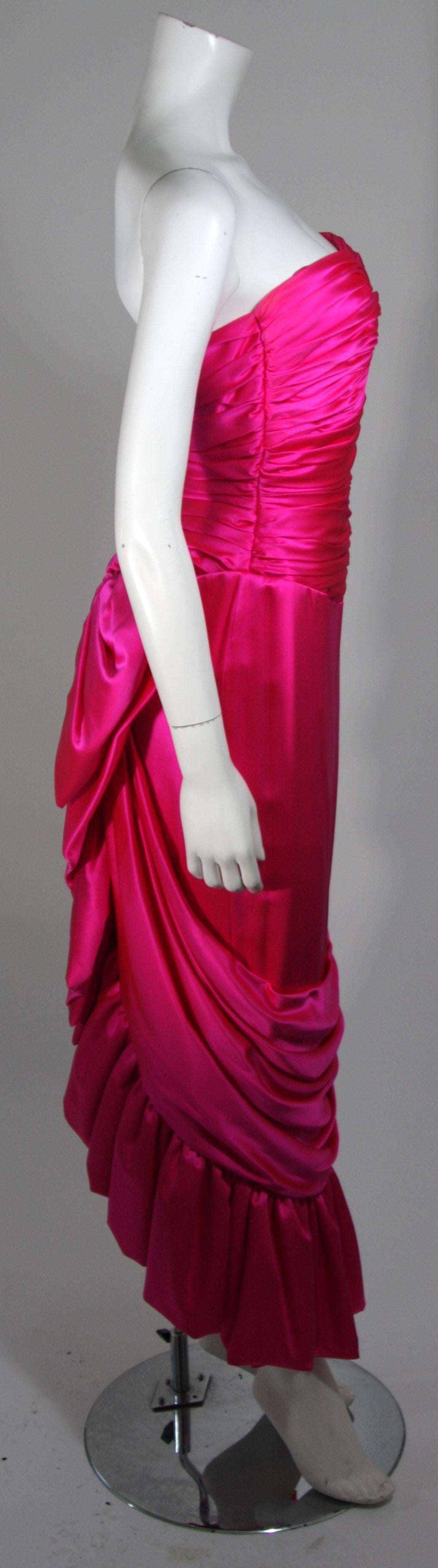 Vicky Tiel Magenta Gown with Large Bow Size Small 3