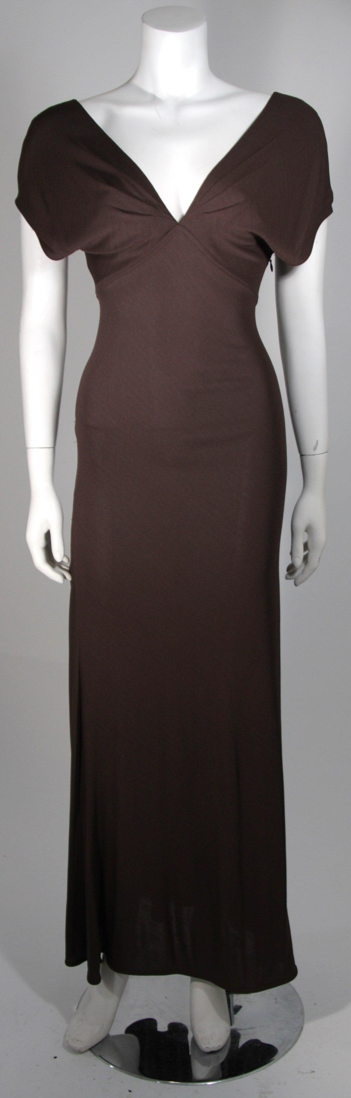 Emanuel Ungaro 1990's Brown Jersey Gown Size 8 2