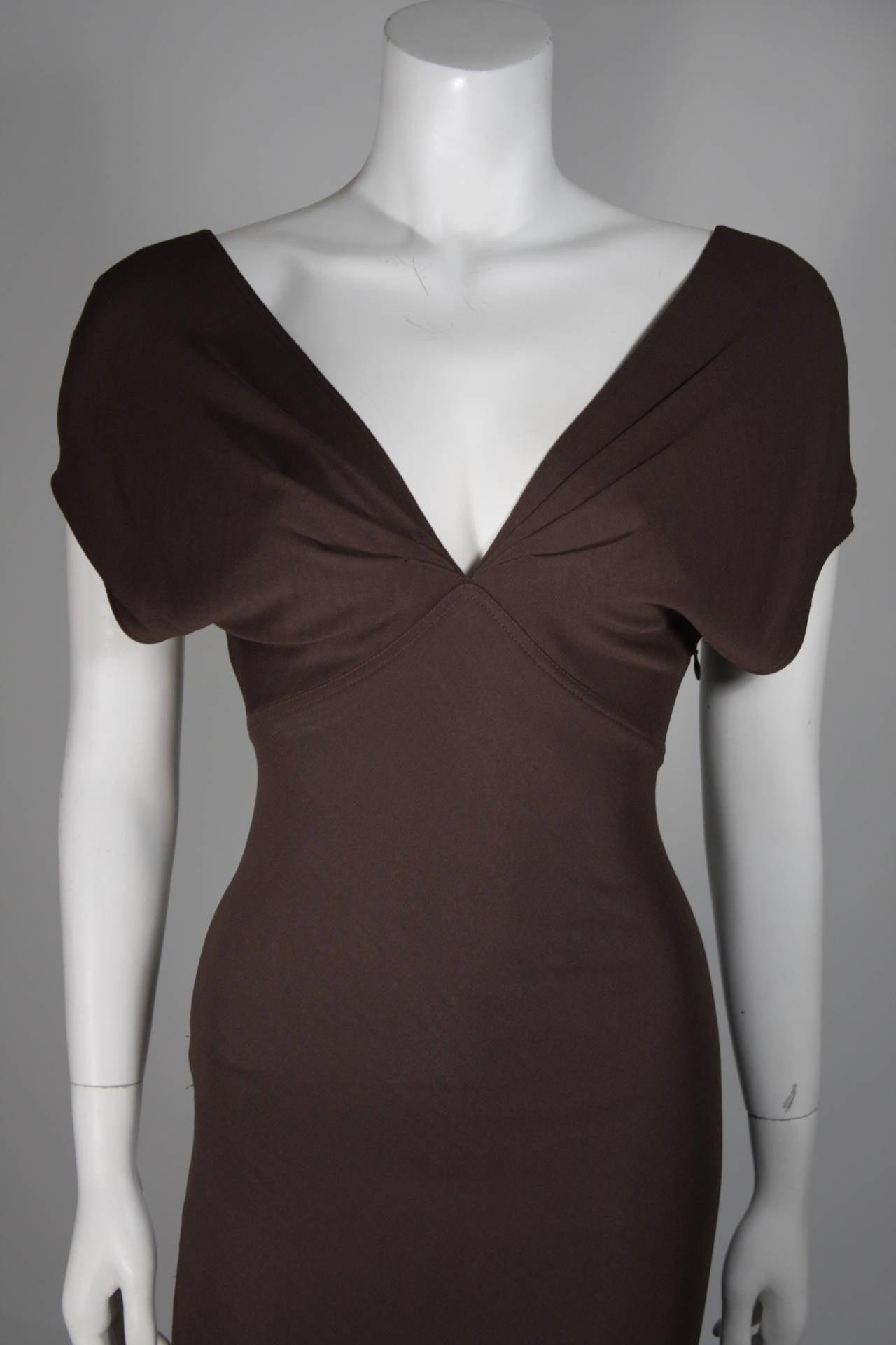 Emanuel Ungaro 1990's Brown Jersey Gown Size 8 3