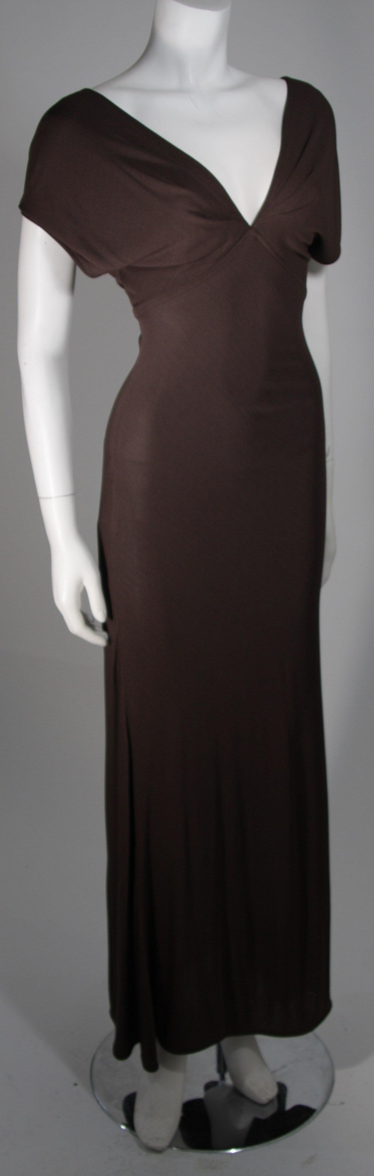 Emanuel Ungaro 1990's Brown Jersey Gown Size 8 4