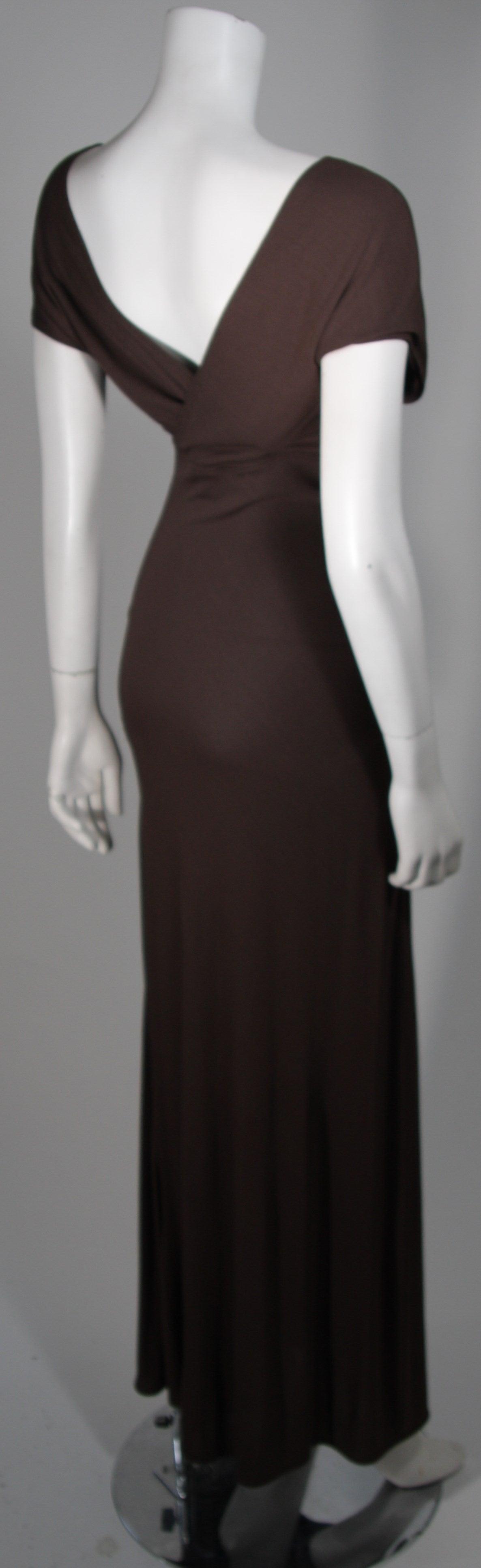 Emanuel Ungaro 1990's Brown Jersey Gown Size 8 6