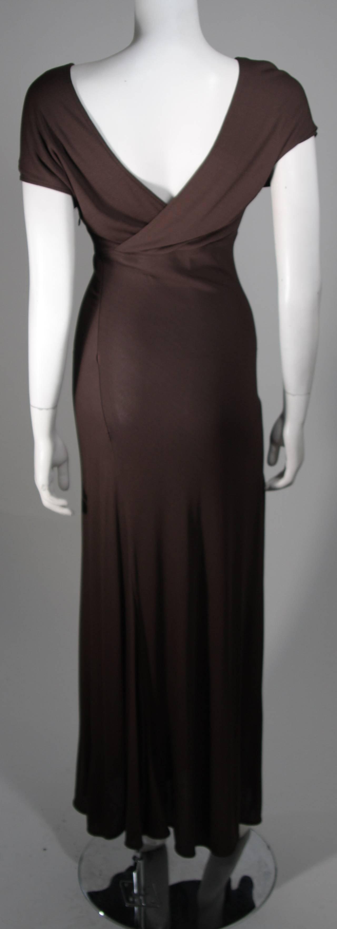 Emanuel Ungaro 1990's Brown Jersey Gown Size 8 7