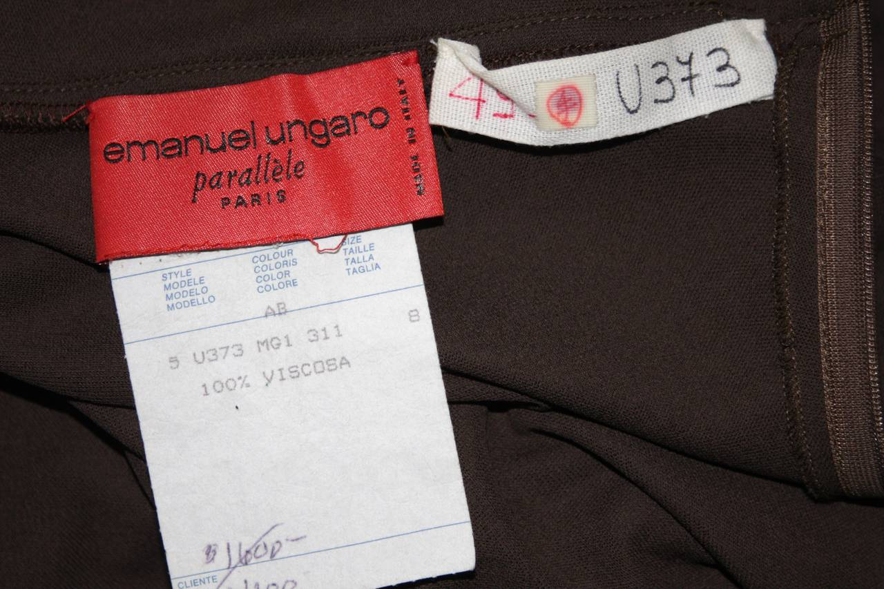 Emanuel Ungaro 1990's Brown Jersey Gown Size 8 8
