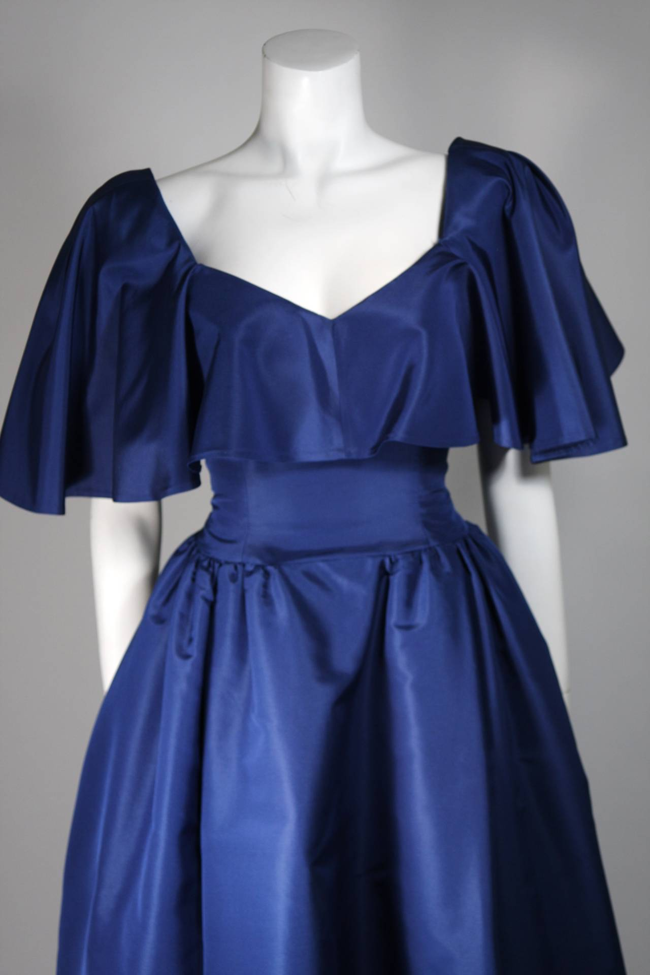 Circa 1980s Pauline Trigere Midnight Blue Faille Ball Gown with Cape Collar 6 3