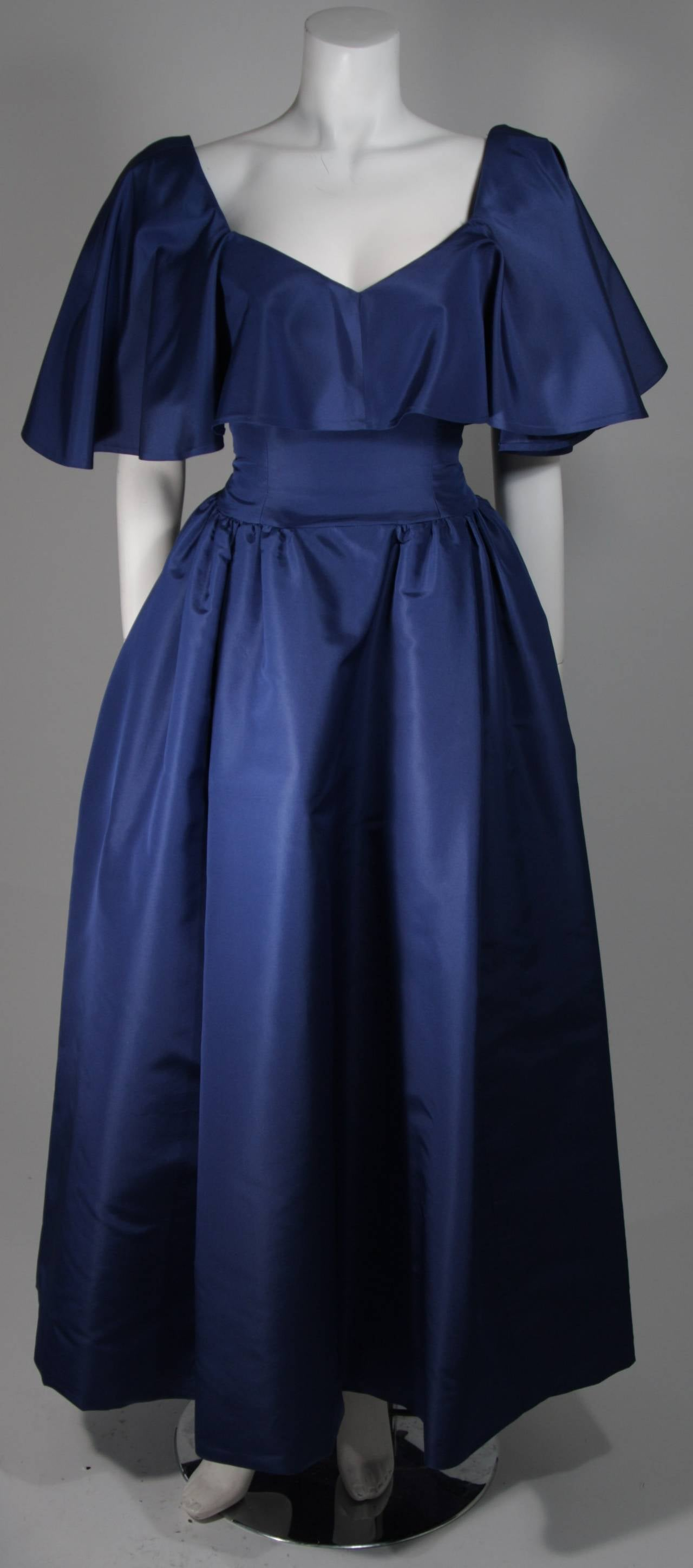 Circa 1980s Pauline Trigere Midnight Blue Faille Ball Gown with Cape Collar 6 2