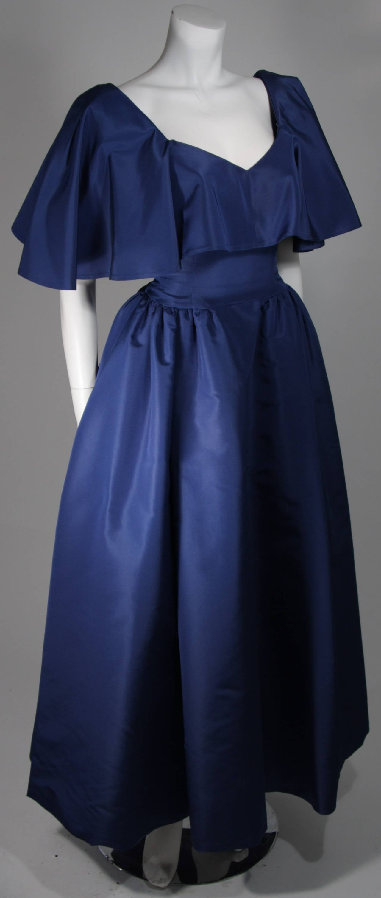 Circa 1980s Pauline Trigere Midnight Blue Faille Ball Gown with Cape Collar 6 4