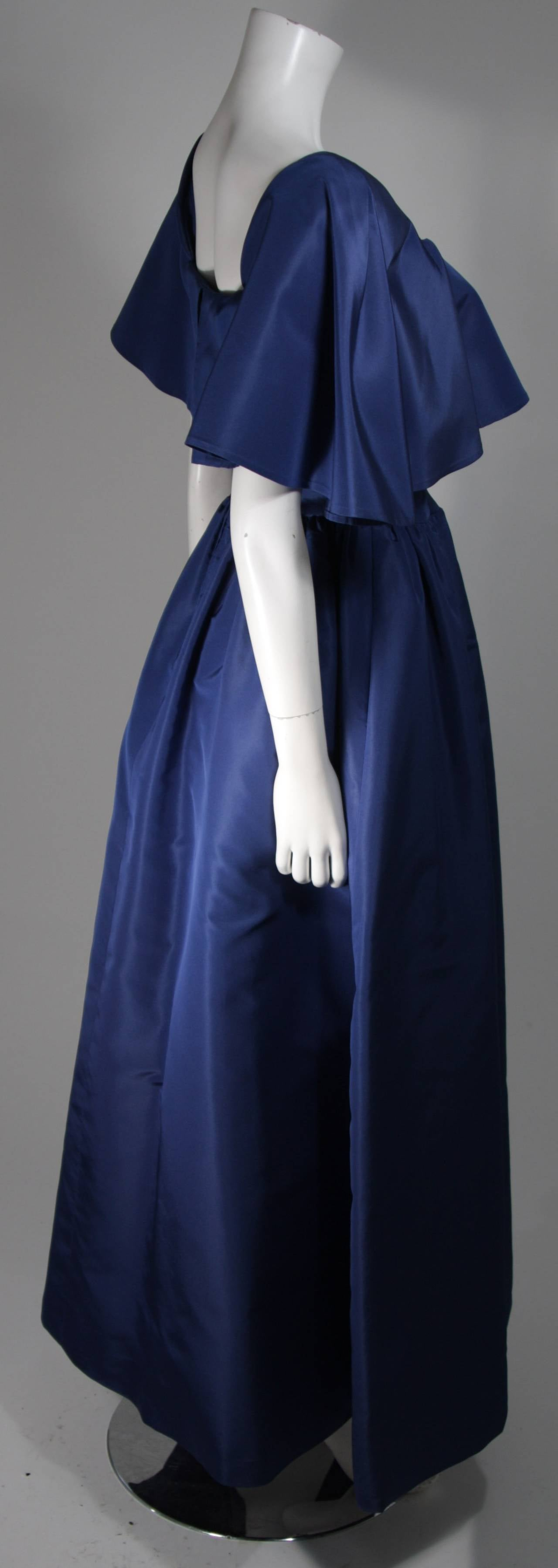 Circa 1980s Pauline Trigere Midnight Blue Faille Ball Gown with Cape Collar 6 5