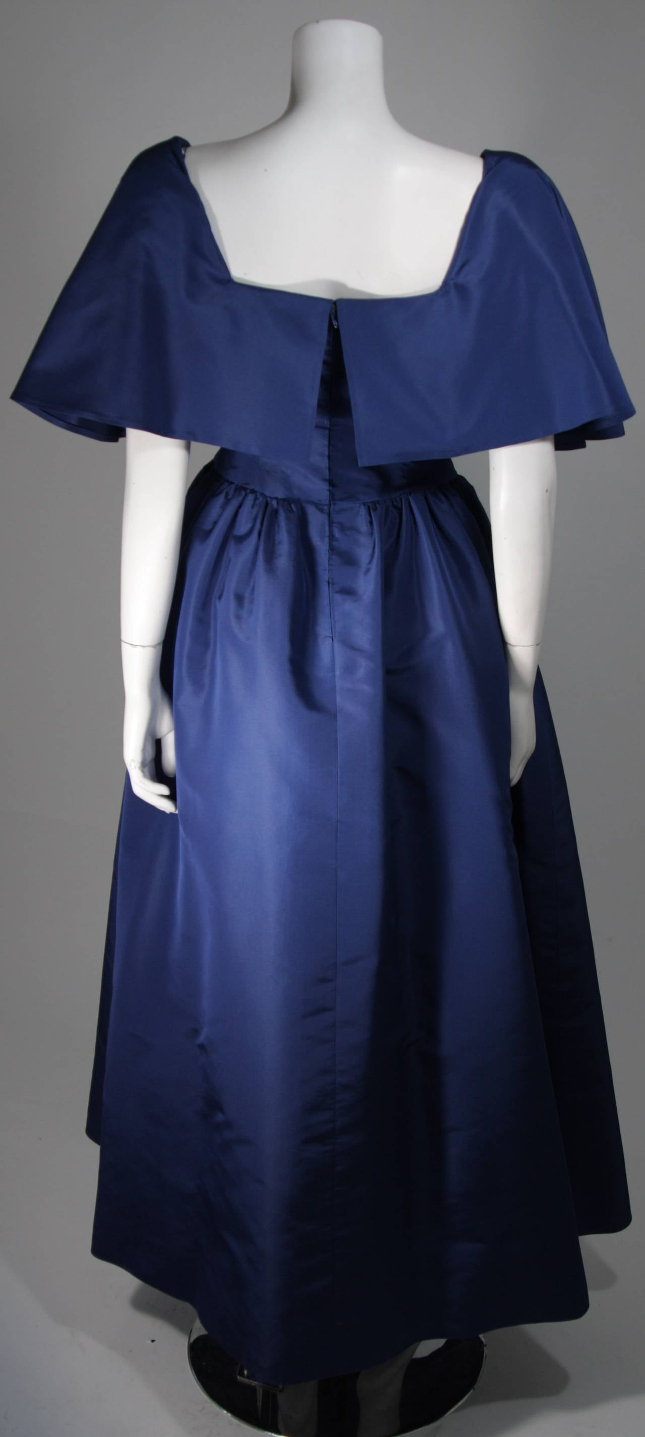 Circa 1980s Pauline Trigere Midnight Blue Faille Ball Gown with Cape Collar 6 6