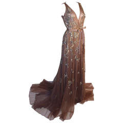 Dennis Basso Mocha Tulle with Silver Beads & Sequins Silk lined Evening Gown