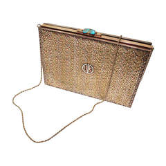 Cartier 1940's 14 kt Gold tri-color woven body with a turquoise clasp clutch