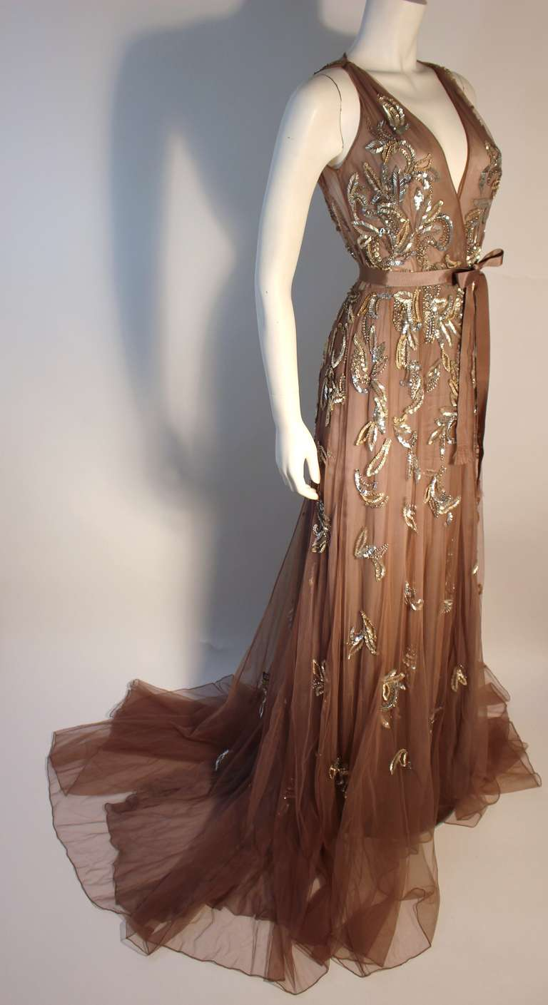 Dennis Basso Mocha Tulle with Silver Beads & Sequins Silk lined Evening Gown 2