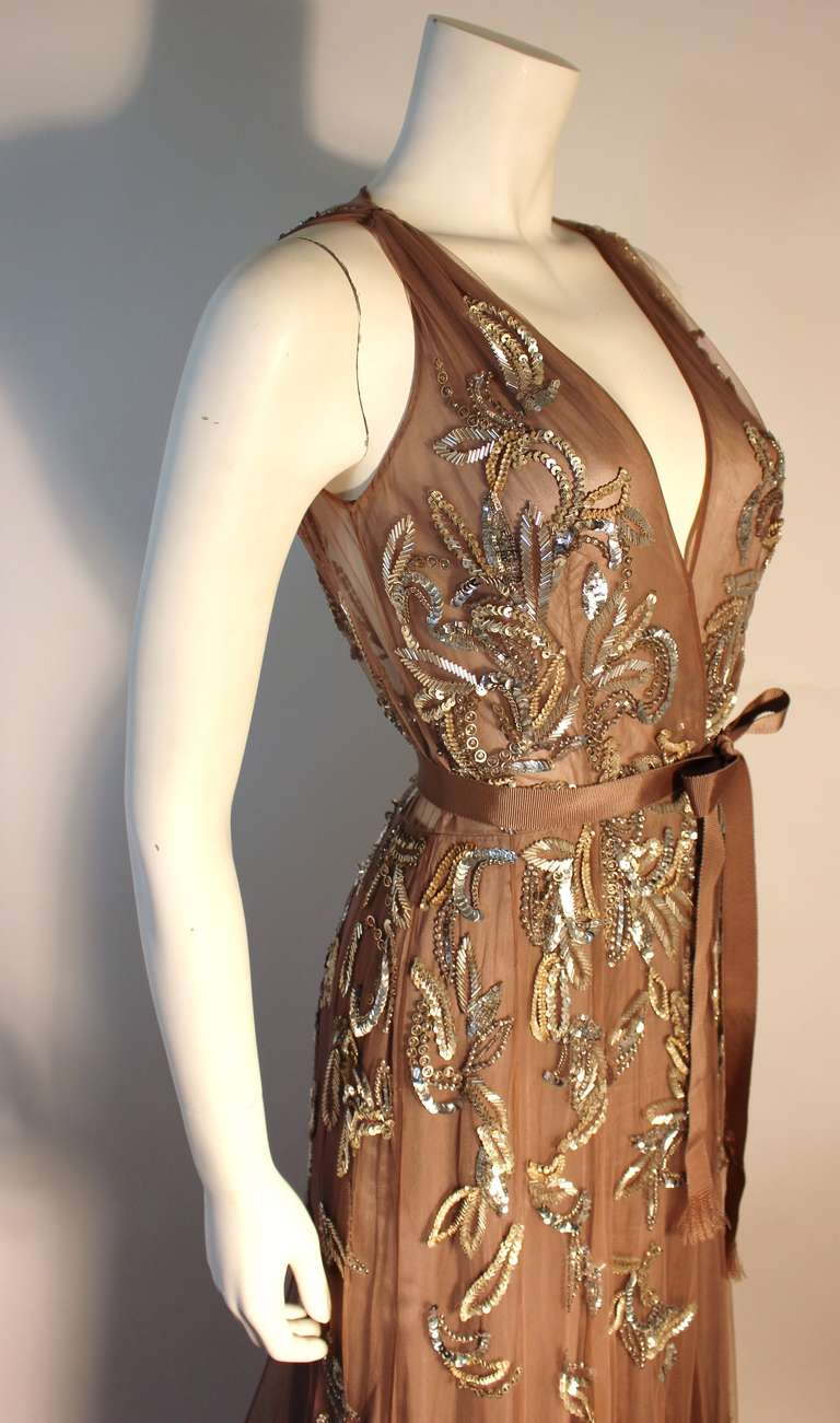 Dennis Basso Mocha Tulle with Silver Beads & Sequins Silk lined Evening Gown 3